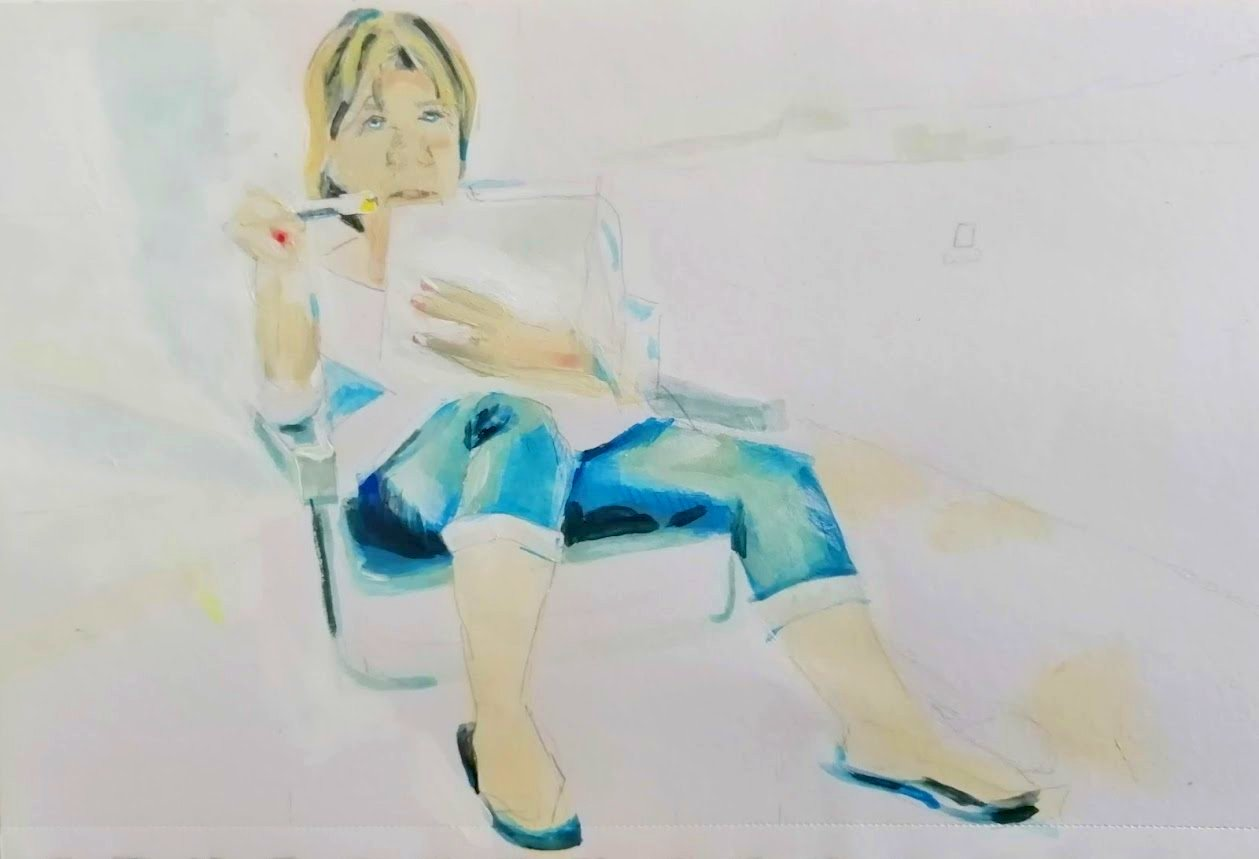 Sandie, painting in chair